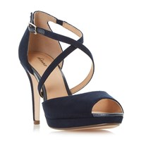 Linea Marly Cross Strap Platform Sandals Navy