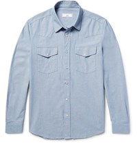 Ami Alexandre Mattiussi Cotton Oxford Western Shirt Light Blue