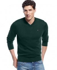 Tommy Hilfiger Big And Tall Signature Solid V Neck Sweater Dark Green Heather