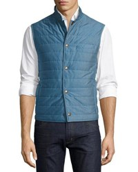 Luciano Barbera Quilted Cotton Pique Vest Blue
