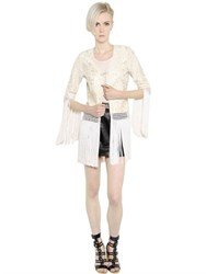 Talitha Fringed Embroidered Silk Crepe Jacket