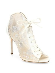 Jimmy Choo Freya 100 Lace And Satin Lace Up Booties Ivory Lanvender