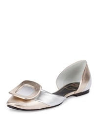 Roger Vivier Two Tone Metallic Buckle D'orsay Flat Silver Gold Size 39.5B 9.5B Silver Gold