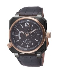 Gv2 48.2Mm Men's Xo Submarine Leather Watch Black