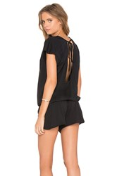 Bobi Supreme Jersey Short Sleeve Open Back Romper Black