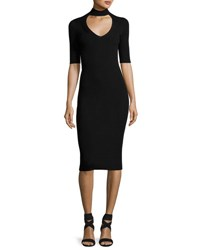 Cushnie Et Ochs Cutout Knit Midi Pencil Dress Black