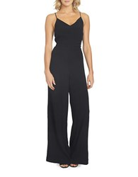 1.State On Pointe Lace Up Back Wide Leg Jumpsuit Rich Black