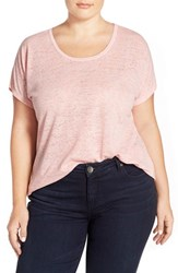 Plus Size Women's Sejour Sheer Knit Round Neck Tee Pink Bride