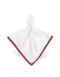 Forzieri Framed Solid White Silk Pocket Square White Red