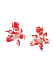 Lele Sadoughi Abstract Flower Earrings Red