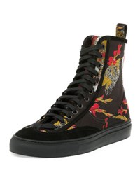 Dries Van Noten Embroidered High Top Sneaker Red Black