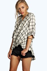 Boohoo Grid Check Wrap Front 3 4 Sleeve Blouse White
