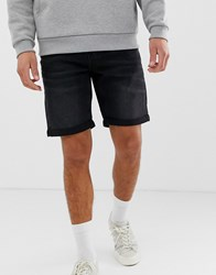 Only And Sons Denim Shorts In Regular Fit Washed Black Denim