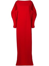 Chalayan Cut Out Shoulder Gown Red