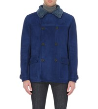 Richard James Double Breasted Leather And Shearling Jacket Blue