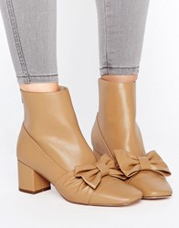 Asos Rayola Bow Ankle Boots Camel Beige