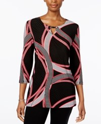 Jm Collection Printed Keyhole Tunic Only At Macy's Ribbon Rings
