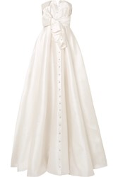 Alexis Mabille Bow Detailed Embellished Duchesse Satin Gown White