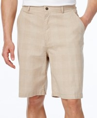 Geoffrey Beene Men's Classic Fit Lightweight Plaid Shorts Khaki
