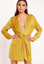 Missguided Satin Wrap Mini Dress Chartreuse Green