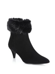 Aquatalia By Marvin K Salley Faux Fur Cuffed Suede Booties Grey Black