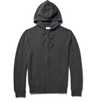 Derek Rose Finley Cashmere Zip Up Hoodie Charcoal