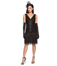 Unique Vintage 1920S Deco Beaded Fringe Aelita Flapper Dress Black Women's Dress
