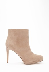 Forever 21 Faux Suede Booties Light Grey