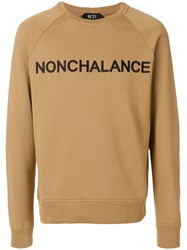 N 21 No21 Nonchalance Embroidered Sweatshirt Brown