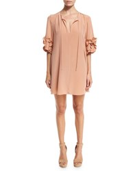 See By Chloe Ruffle Sleeve Silk Shift Dress Beige