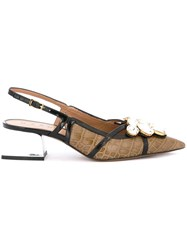 Marni Slingback Block Heel Pumps Brown