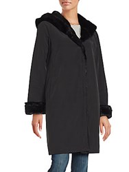 Jane Post Faux Fur Lined Princess Coat Black
