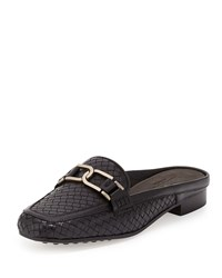 Margret Woven Leather Mule Black Sesto Meucci