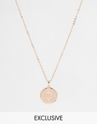 Chained And Able Medallion Necklace Rosegold
