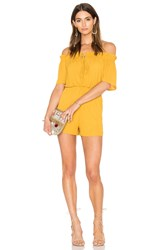 Oh My Love Off Shoulder Tie Romper Yellow