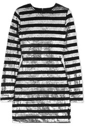 Rta Crystal Striped Sequined Velvet Mini Dress Silver