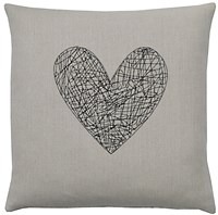 K Studio Heart Pillow Hemp Black Stitch Gray