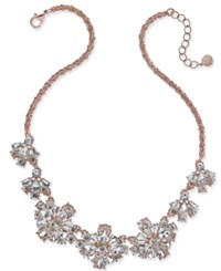 Charter Club Rose Gold Tone Floral Crystal Necklace Only At Macy's