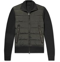 Tom Ford Shell Panelled Merino Wool Down Jacket Green
