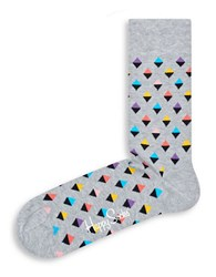 Happy Socks Diamond Print Pastel Crew Grey