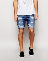 Asos Denim Shorts In Slim Fit Mid Wash With Rips Midblue
