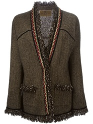 Etro Fringed Trim Herringbone Jacket Brown