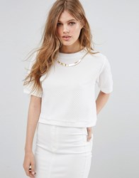 Girls On Film Short Sleeve Top With Beaded Trim Ivory Cream
