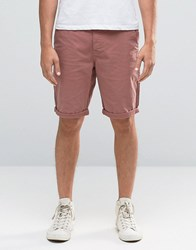 New Look Slim Chino Shorts In Pink Pink