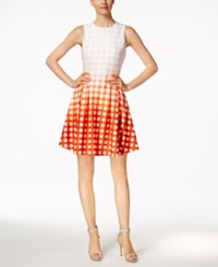 Calvin Klein Petite Dip Dyed Grid Print Fit And Flare Dress Orange Multi