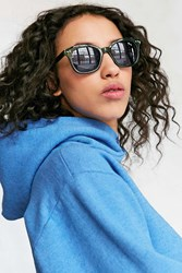Urban Outfitters Eva Slim Square Sunglasses Dark Green