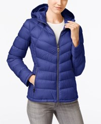 Michael Kors Petite Hooded Quilted Packable Down Puffer Coat Only At Macy's Tide Blue
