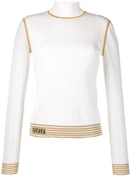 Fendi Knitted Logo Jumper White