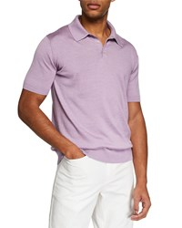 Neiman Marcus Solid Silk Cotton Short Sleeve Polo Shirt Lilac