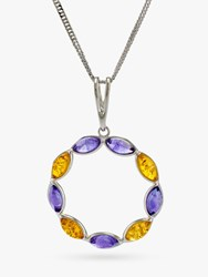 Be Jewelled Baltic Amber And Amethyst Pendant Necklace Multi